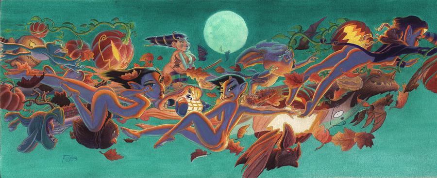 Halloween Painting - Halloween Frolics by Richard Moore