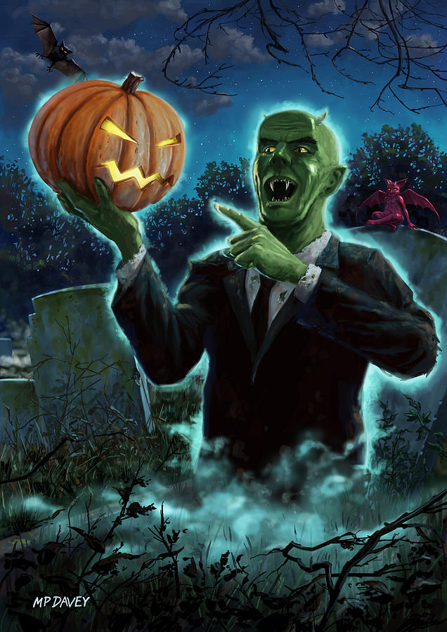 Ghoul Painting - Halloween Ghoul Rising From Grave With Pumpkin by Martin Davey