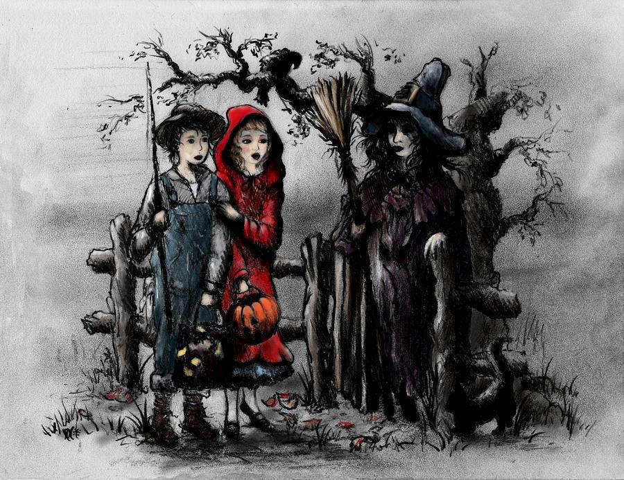 Halloween Drawing - Halloween Night by Rachel Christine Nowicki