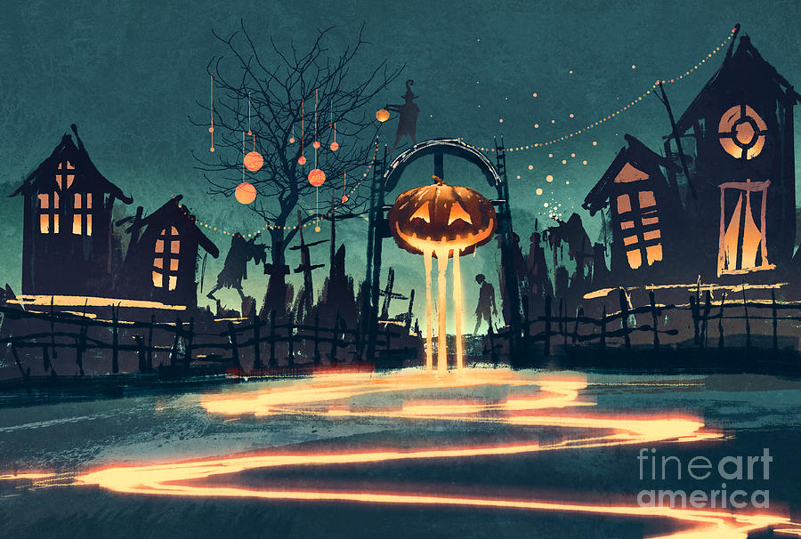 Color Digital Art - Halloween Night With Pumpkin And by Tithi Luadthong