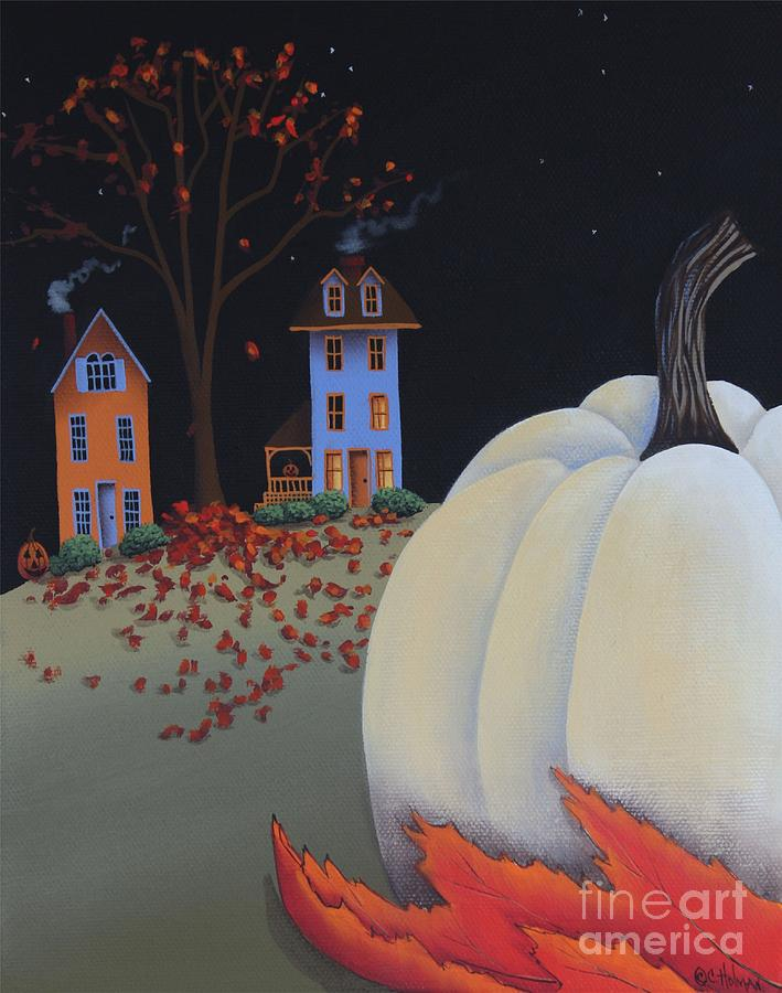 Primitive Painting - Halloween On Pumpkin Hill by Catherine Holman