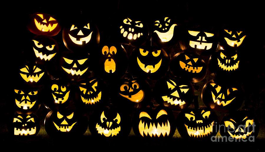 Pumpkins Photograph - Halloween Pumpkin Faces by Tim Gainey