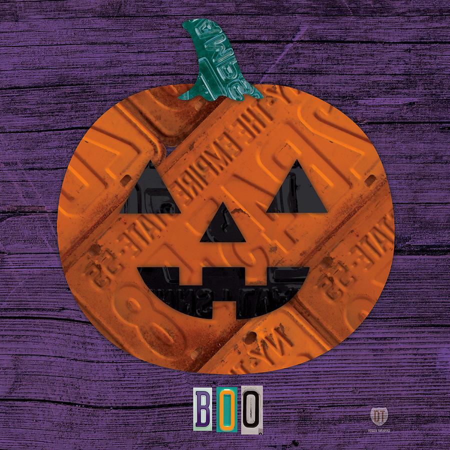 Halloween Mixed Media - Halloween Pumpkin Holiday Boo License Plate Art by Design Turnpike