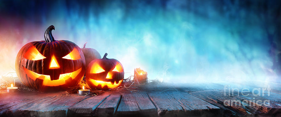 Symbol Photograph - Halloween Pumpkins On Wood In A Spooky by Romolo Tavani