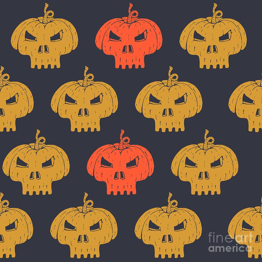 Typography Digital Art - Halloween Seamless Pattern With by Kirill Kalchenko