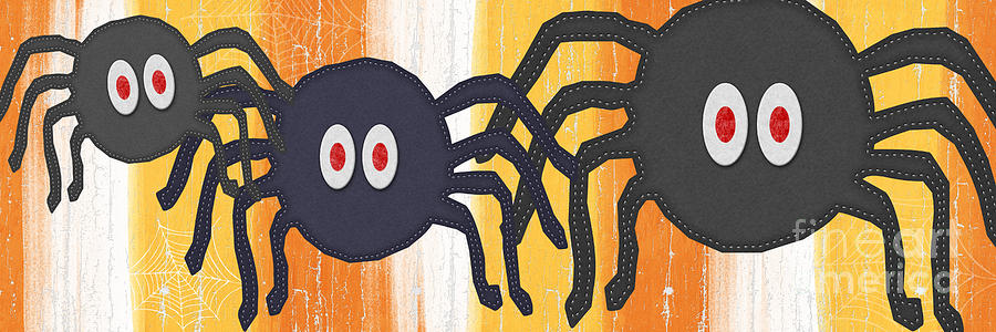Spiders Painting - Halloween Spiders Sign by Linda Woods