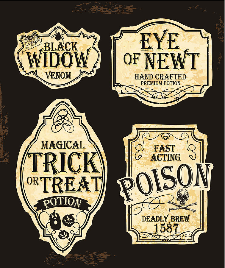 Halloween Themed Old Fashioned Label Designs Drawing by JDawnInk