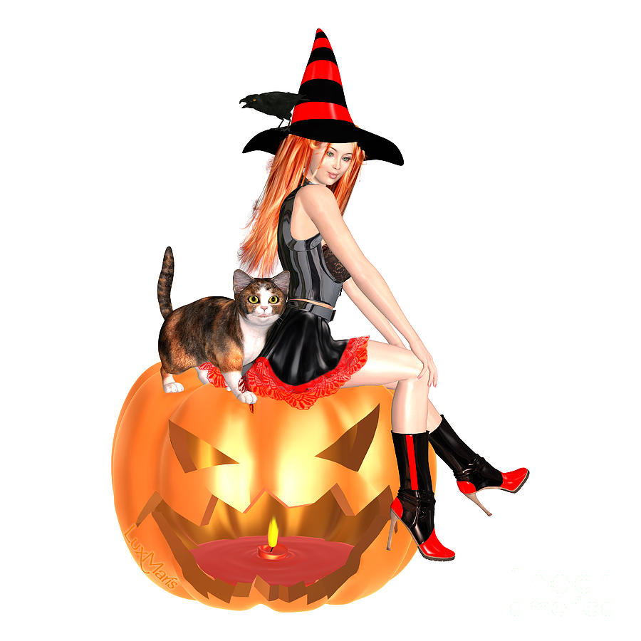 Halloween Digital Art - Halloween Witch Nicki With Kitten by Renate Janssen