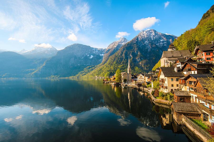 Hallstatt Village and Hallstatter See lake in Austria Photograph by Serts