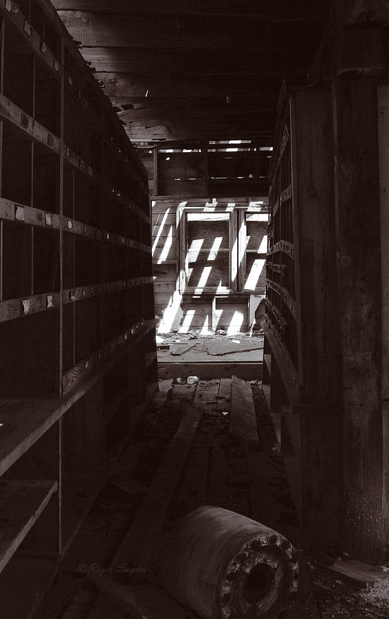 Beautiful Photograph - Hallway Of Shelves 2 Sepia by Roger Snyder