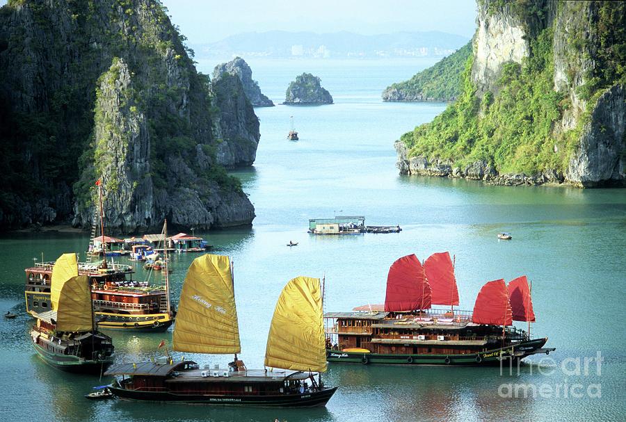 Vietnam Photograph - Halong Bay Sails 01 by Rick Piper Photography
