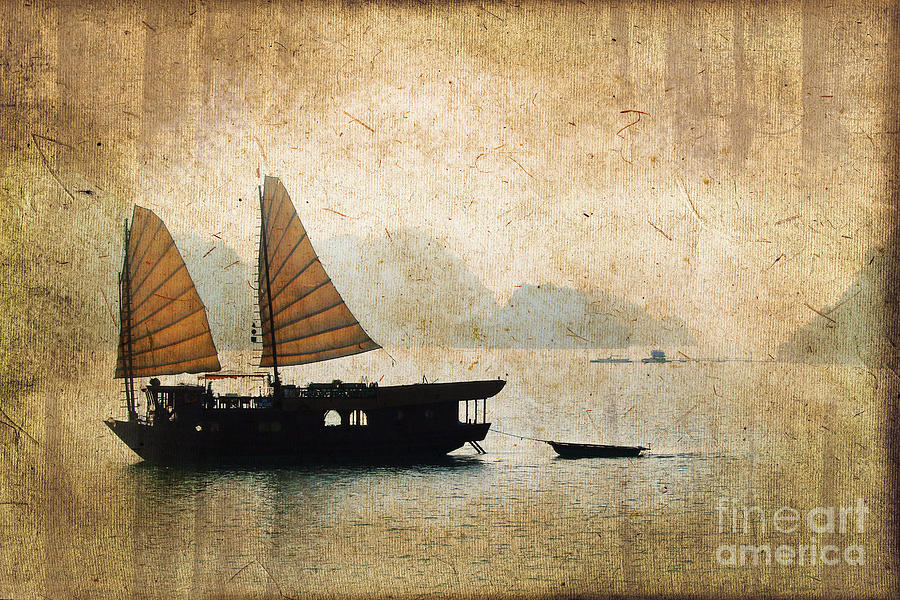 Vietnam Photograph - Halong Bay Vintage by Delphimages Photo Creations