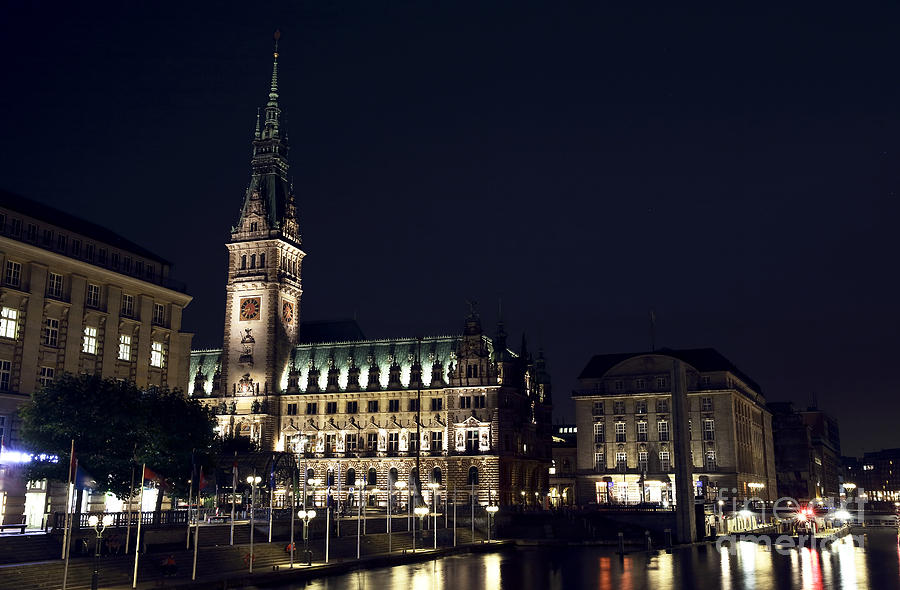 Canal Photograph - Hamburg Rathaus By The Canal by John Rizzuto