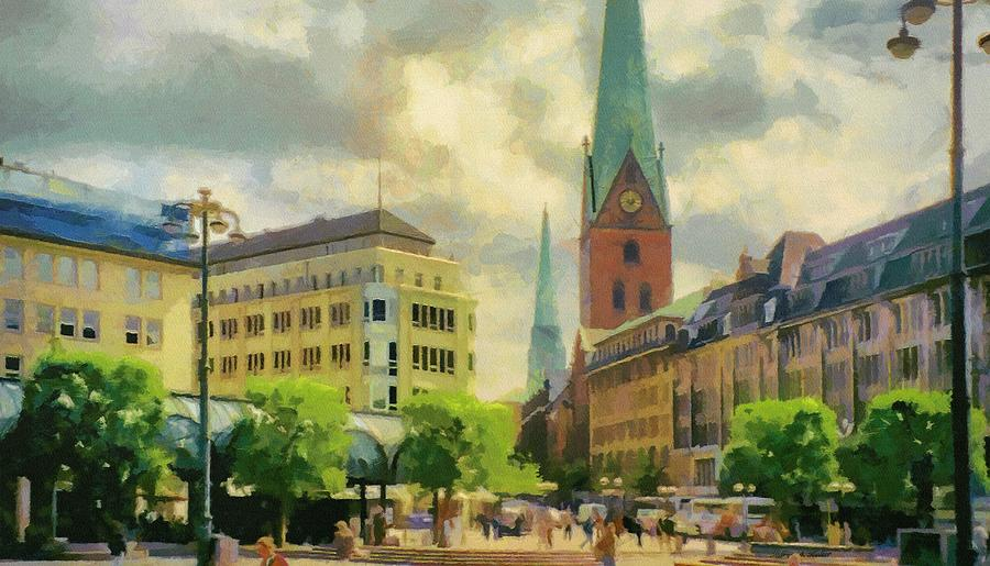 Europe Painting - Hamburg Street Scene by Jeffrey Kolker