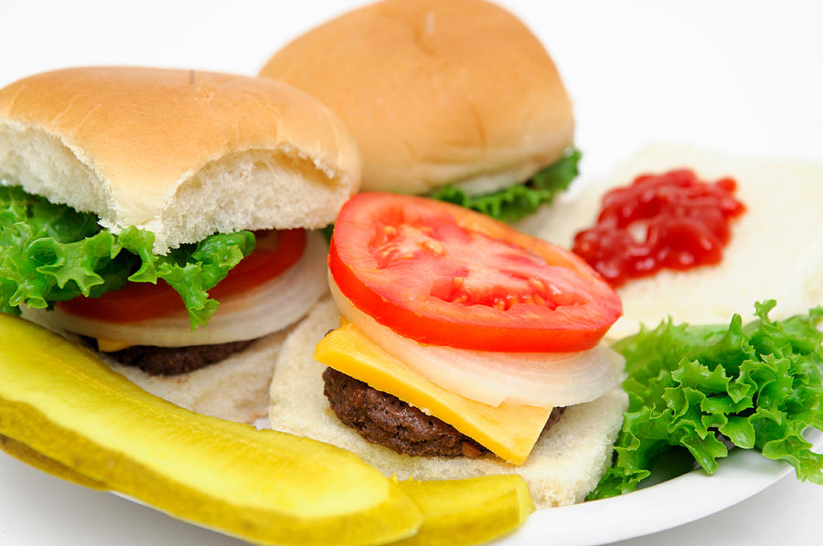 Meat Photograph - Hamburger And Pickles by Don Bendickson