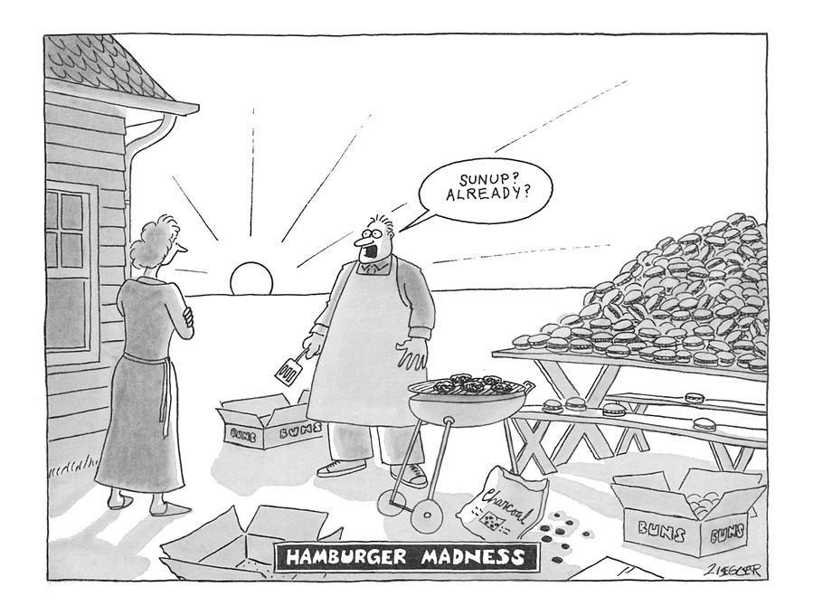 Hamburger Madness Drawing by Jack Ziegler