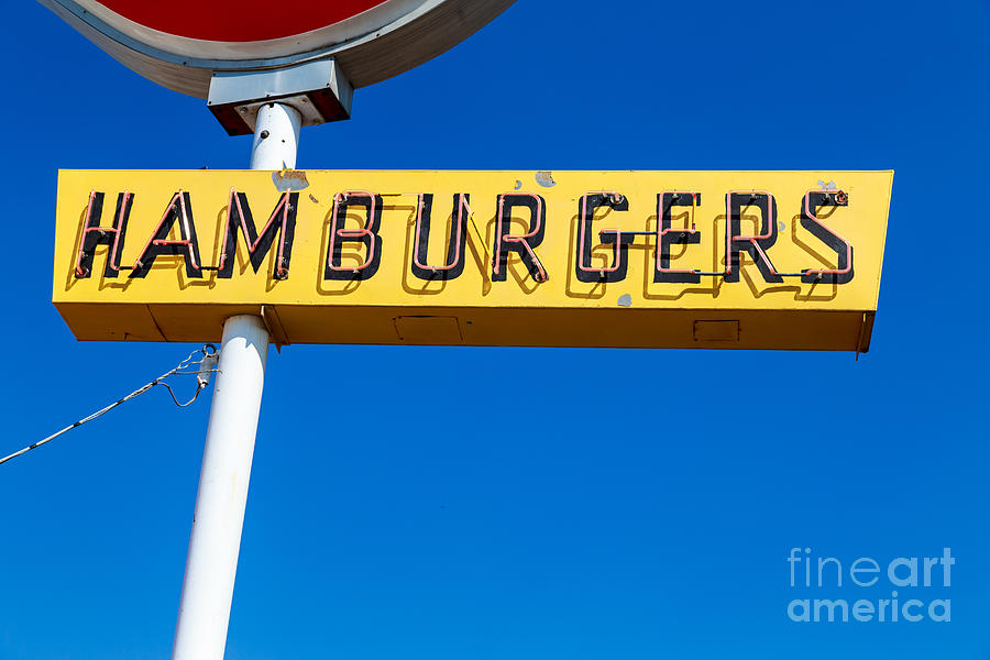 Yellowstone Photograph - Hamburgers Old Neon Sign by Edward Fielding