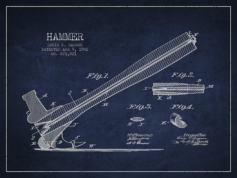 Hammer Drawing - Hammer Patent Drawing From 1901 by Aged Pixel