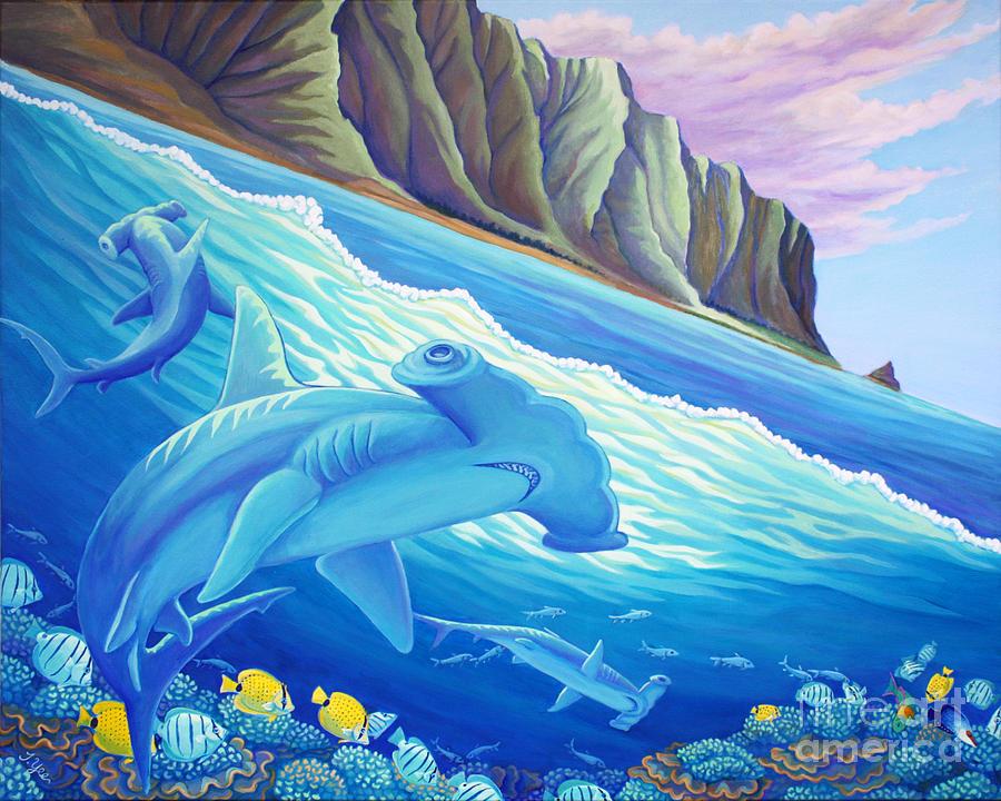 Hammerhead Painting - Hammerhead Sharks In Kaneohe Bay by Tammy Yee