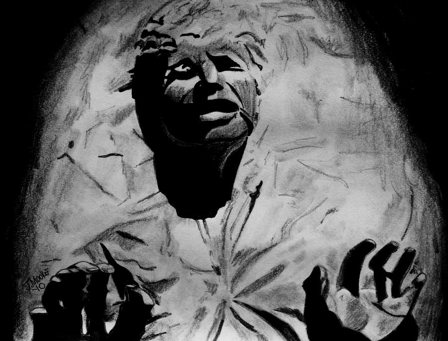 Han In Carbonite Drawing by Jeremy Moore
