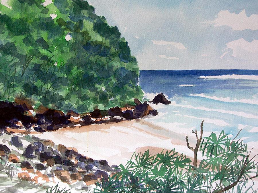 Watercolor Painting - Hanakapiai by Jon Shepodd