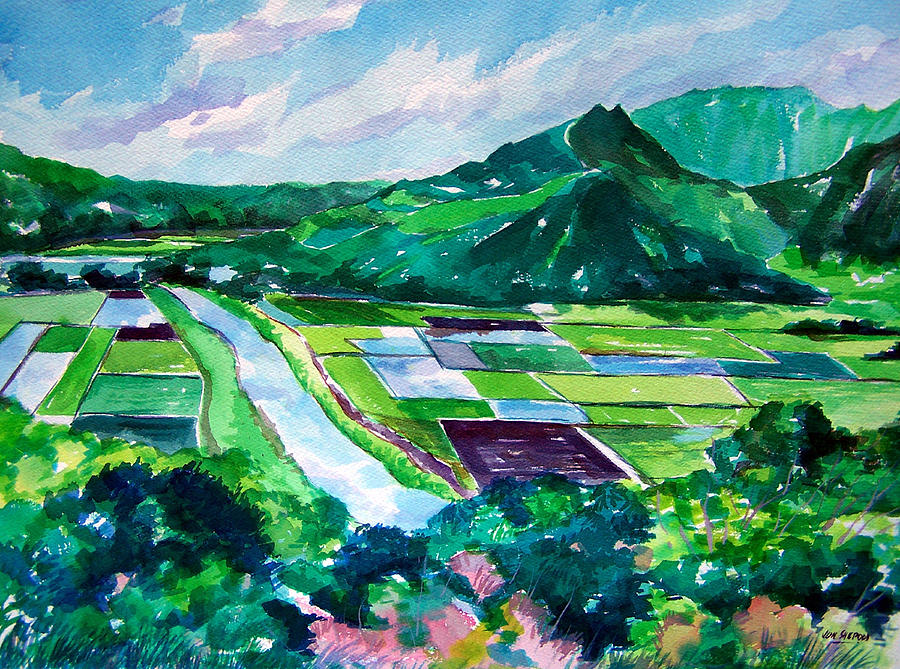 Watercolor Painting - Hanalei From The Lookout by Jon Shepodd