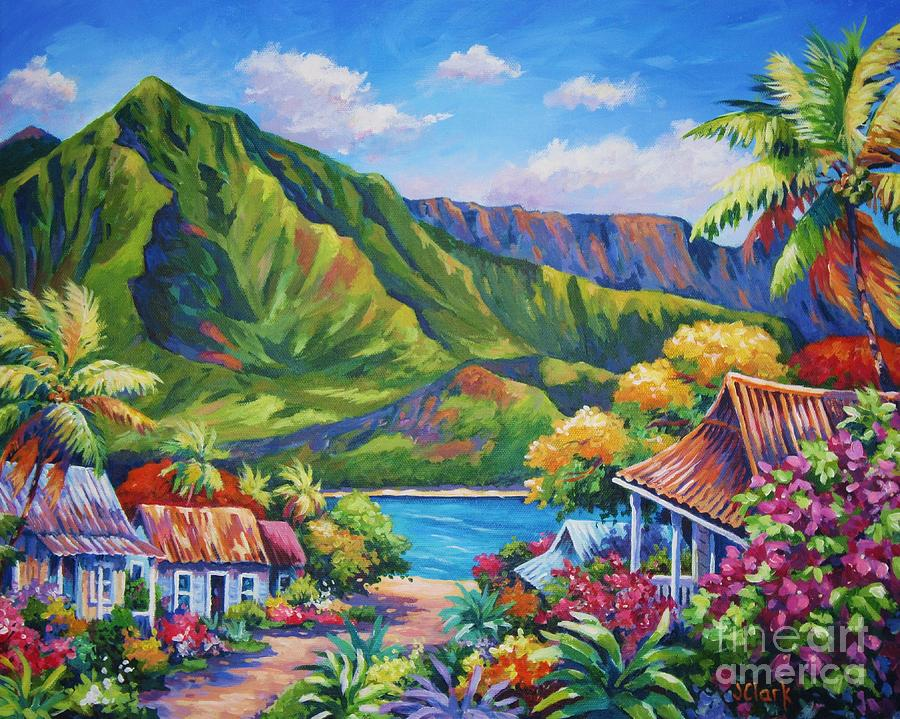 Hanalei in bloom painting by john clark for America tropical mural