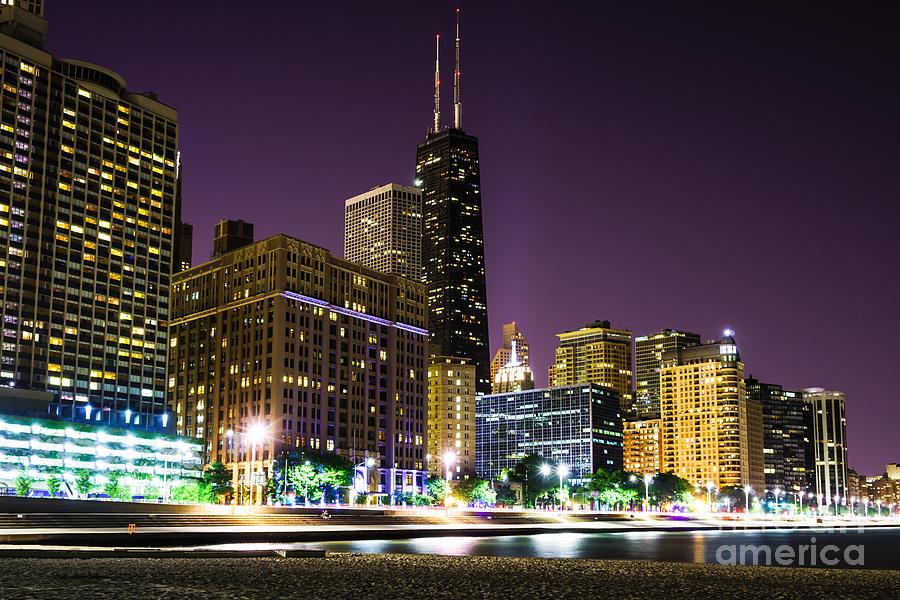 America Photograph - Hancock Building With Dusk Chicago Skyline by Paul Velgos