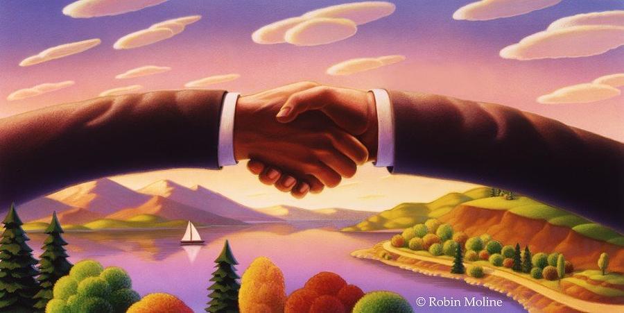 Shaking Hands Painting - Hand Bridge by Robin Moline