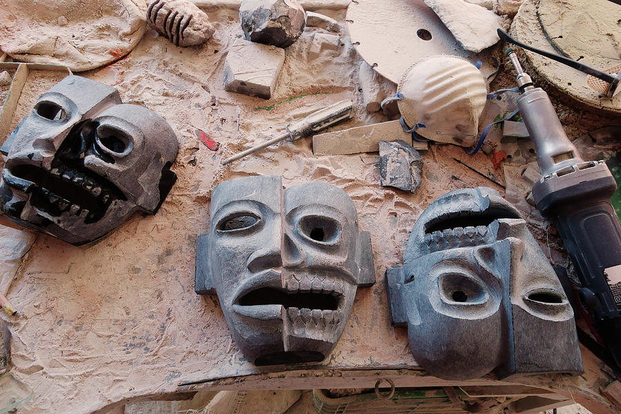Hand Carved Masks Photograph by Russell Monk