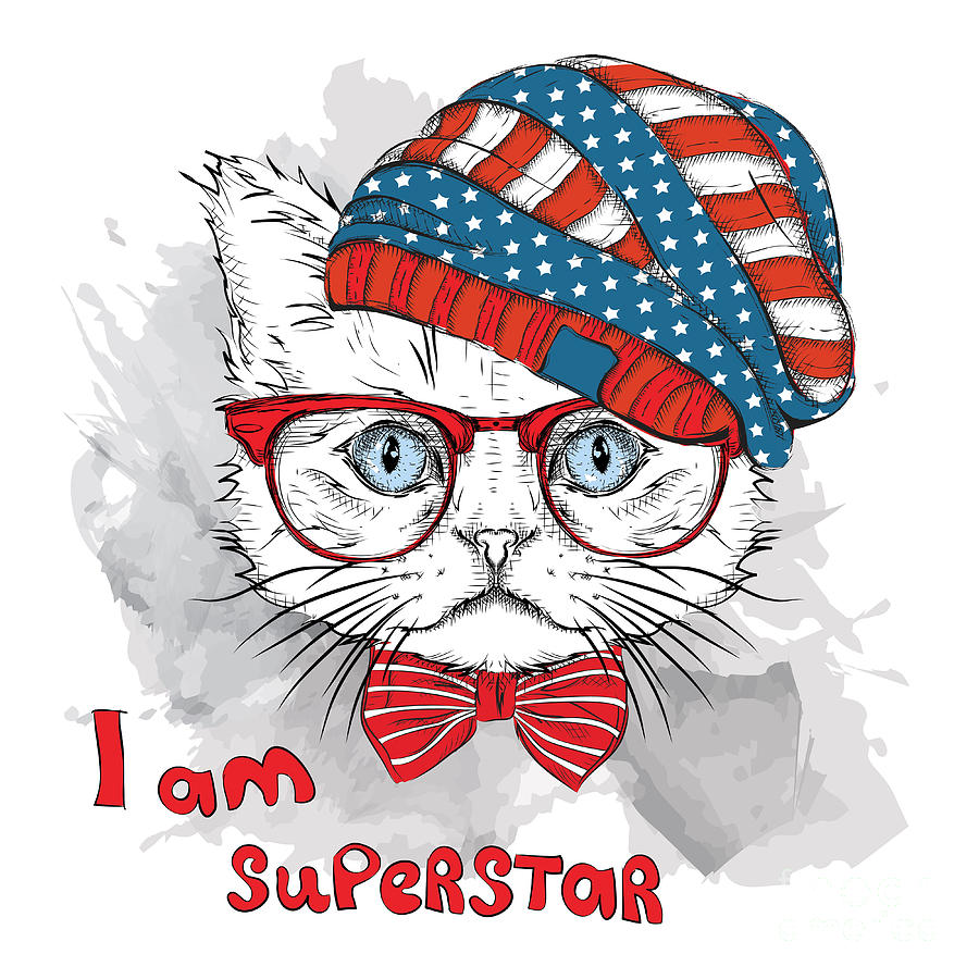 Heat Digital Art - Hand Draw Cat In A Usa Hat. Vector by Sunny Whale