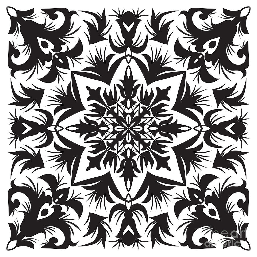 Repetition Digital Art - Hand Drawing Pattern For Tile In Black by Zinaida Zaiko