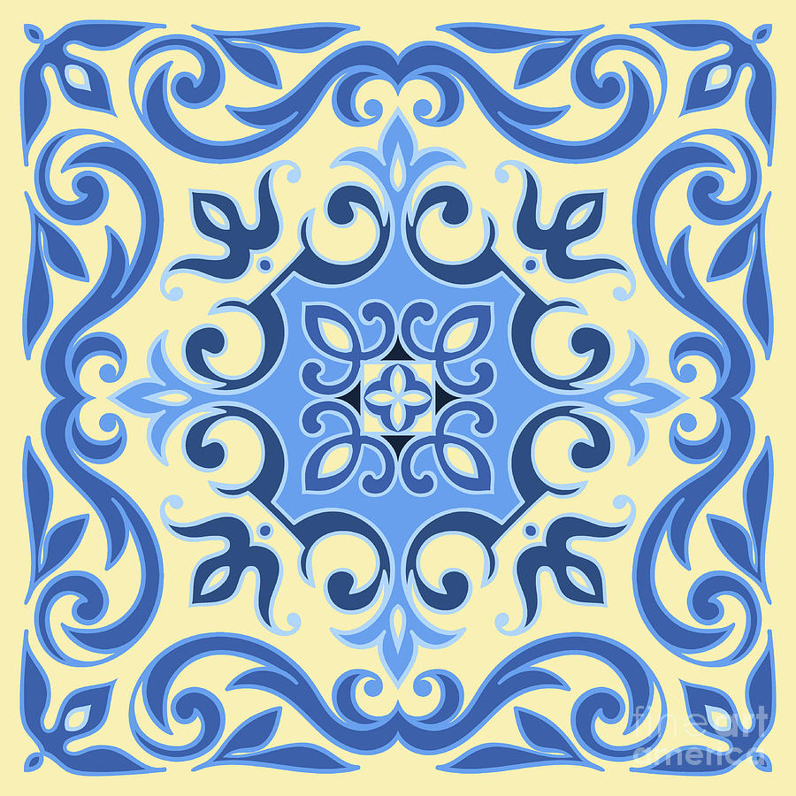 Ceramic Digital Art - Hand Drawing Tile Pattern In  Blue And by Zinaida Zaiko