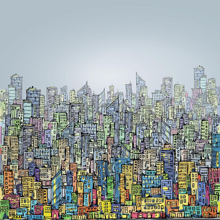 Hand Drawn City Skyline Digital Art by Dahabian