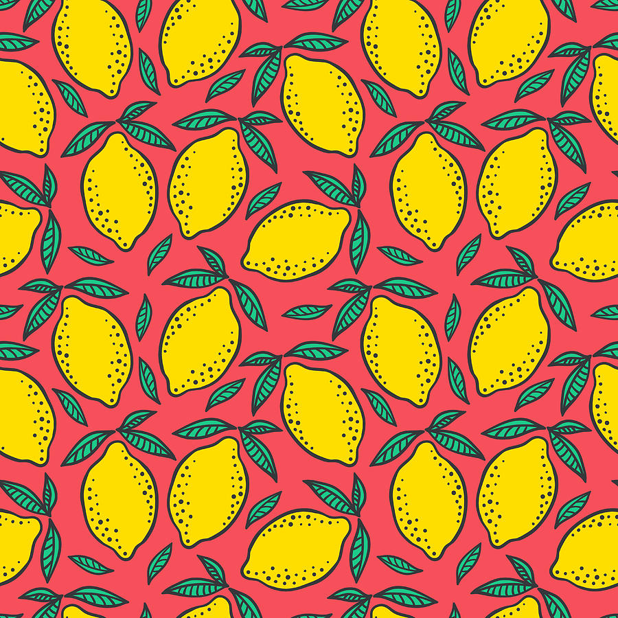 Hand Drawn Colorful Seamless Pattern Of Digital Art by Ekaterina Bedoeva