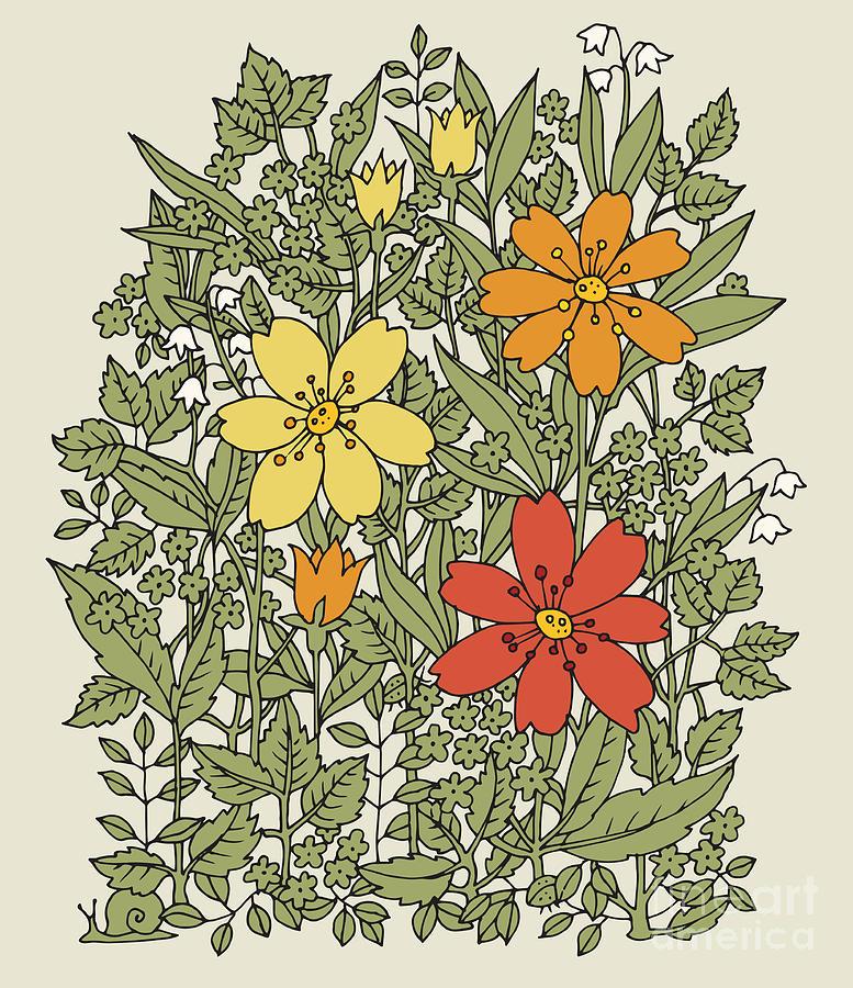 Spice Digital Art - Hand Drawn Flowers On White Background by Astudio