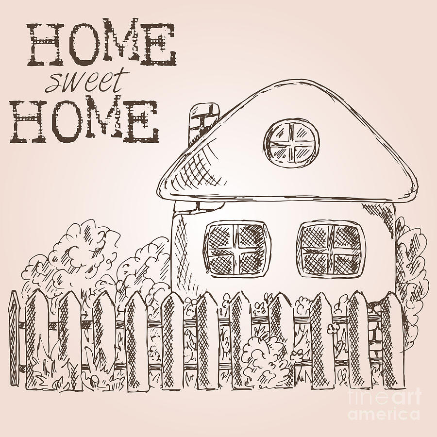 Country Digital Art - Hand Drawn Ink Sketch Home. Village by Valerie Bo