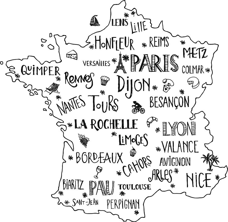 Map Of France With City Names.Hand Drawn Map Of France With Lettering Of Main Cities And Main Symbols Handwritten Name Of Towns France Vector Illustration For Poster Design Or