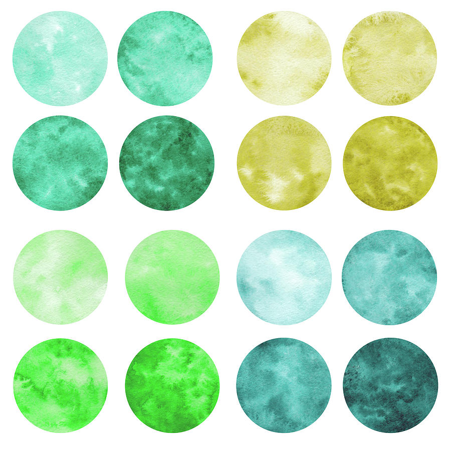 Hand Drawn Set Of Green Watercolor Digital Art by Olgaolmix