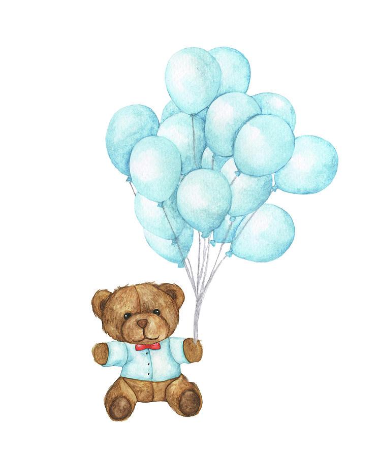 Hand Drawn Watercolor Of Teddy Bear Digital Art by Khaneeros