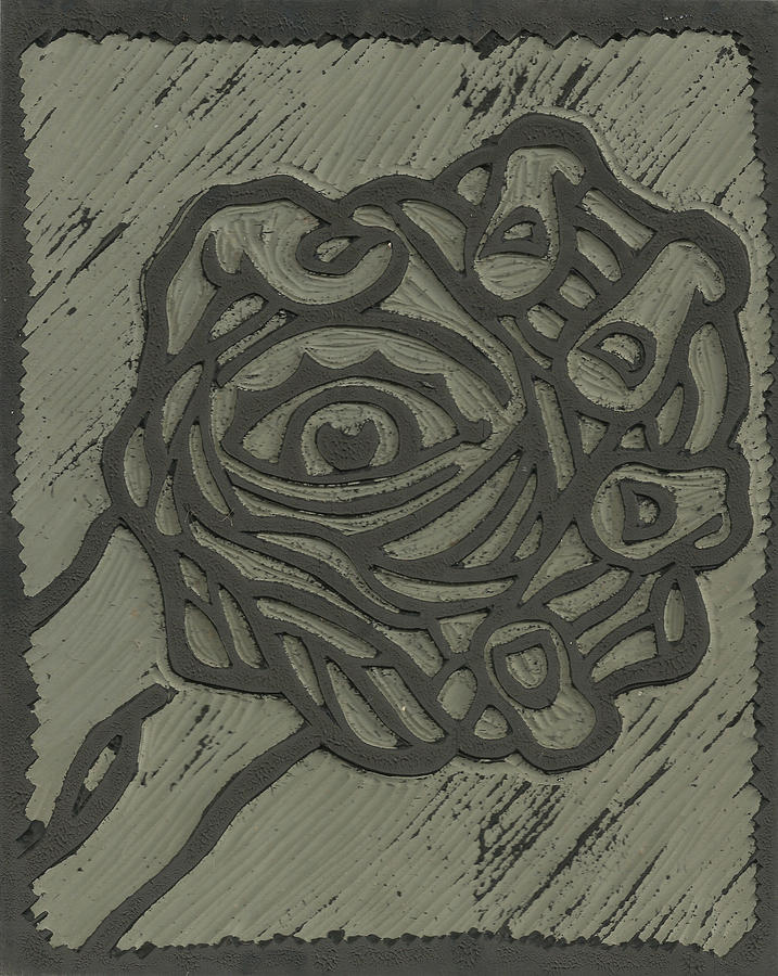 Hand eye coordination linoleum block carving drawing by