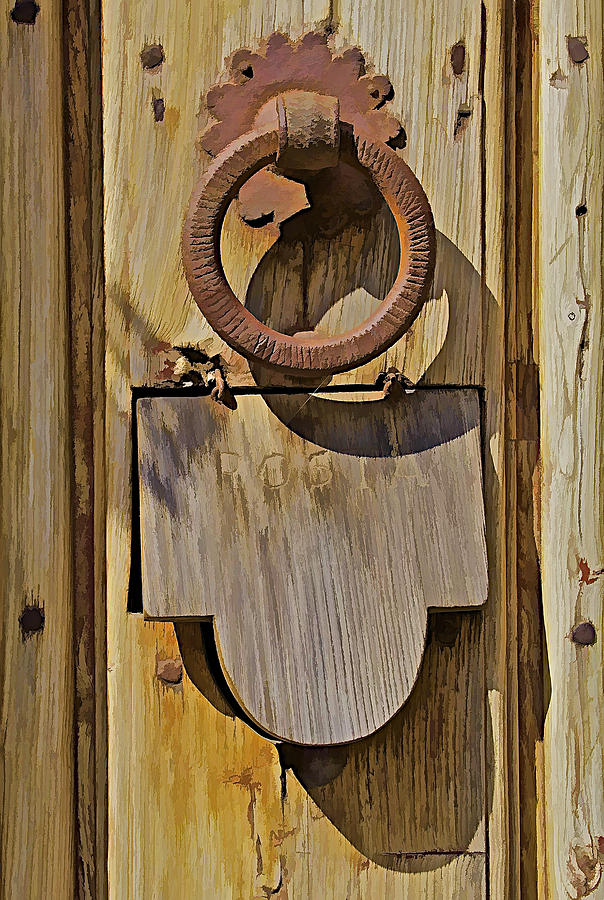 Close Up Photograph - Hand Forged Iron Door Handle by David Letts