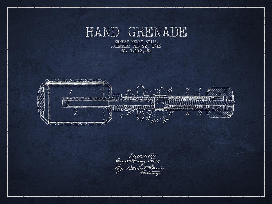Grenade Digital Art - Hand Grenade Patent Drawing From 1916 by Aged Pixel