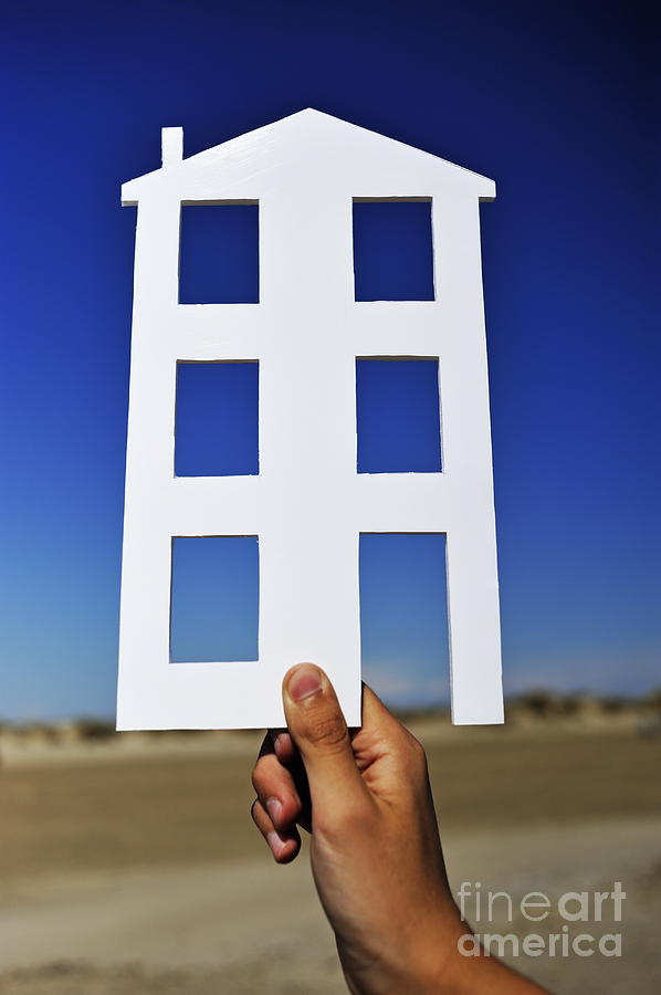 14-15 Years Photograph - Hand Holding House Shape Outdoors by Sami Sarkis