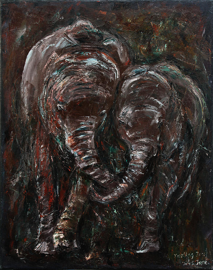 Elephants Painting - Hand In Hand by Xueling Zou