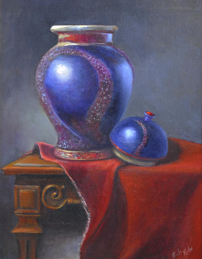 Still Life  Oil Painting Of Hand Thrown Pot By Artist With Lid Painting - Hand Make Vase  by Rich Kuhn