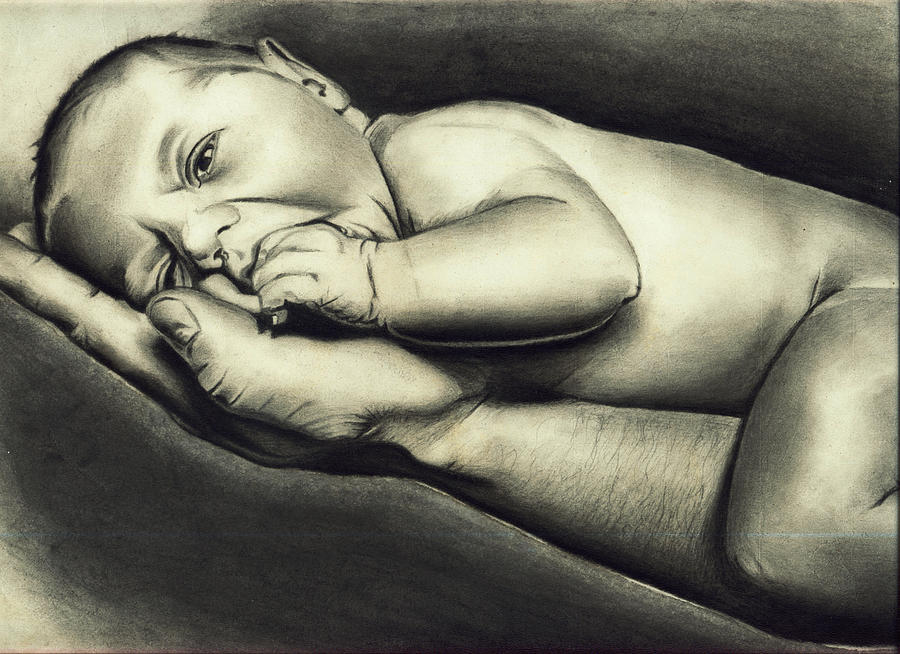 Child Drawing - Hand Of Comfort by Atinderpal Singh