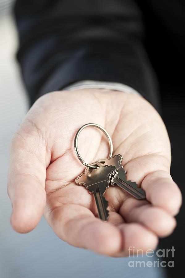 Keys Photograph - Hand Offering New Keys by Elena Elisseeva