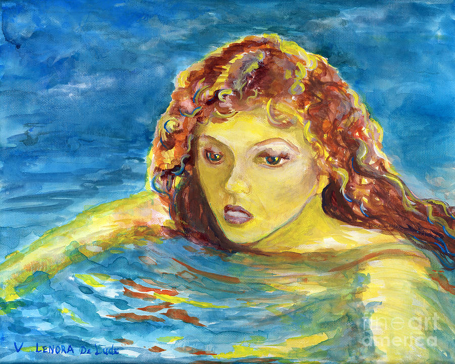 Hand Painted Painting - Hand Painted Art Adult Female Swimmer by Lenora  De Lude