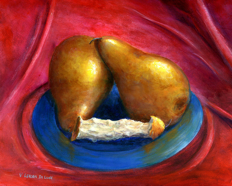 Still Life Painting - Hand Painted Art Fruit Still Life Pears by Lenora  De Lude